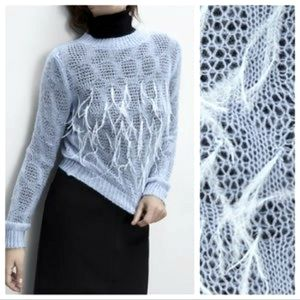 New ZARA Blue Feather Front Knit Sweater